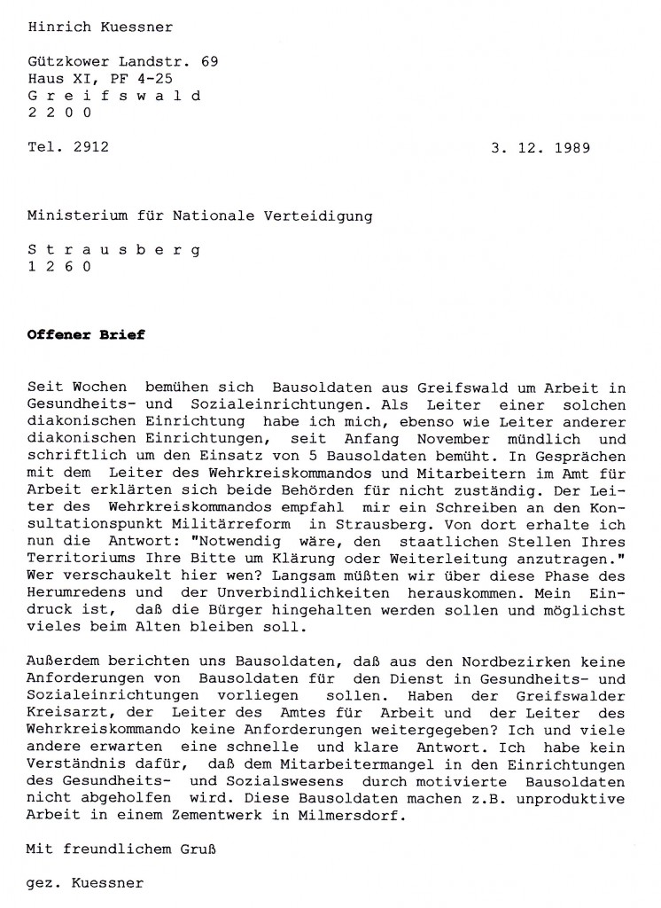 Offener Brief NVA 3-12-1989